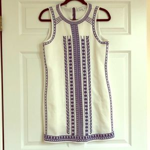 Blue and white embroidered shift dress